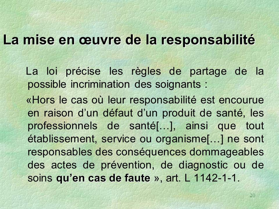 La mise en œuvre de la responsabilité