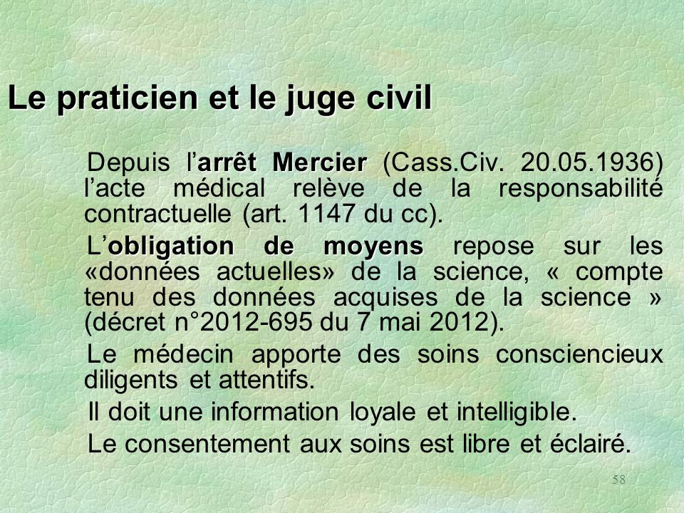 Le praticien et le juge civil