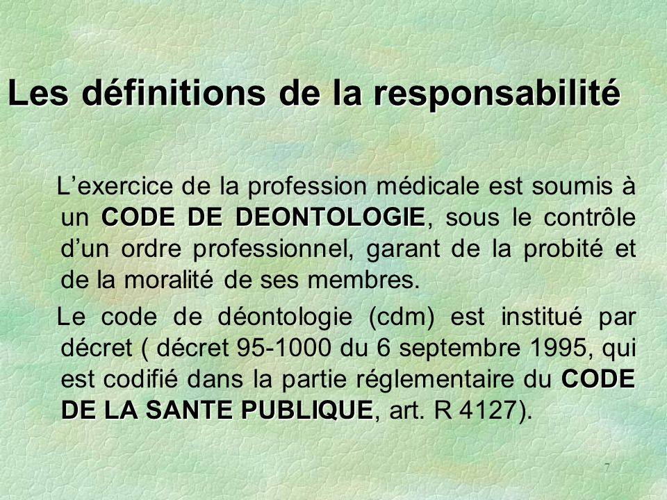 Les définitions de la responsabilité