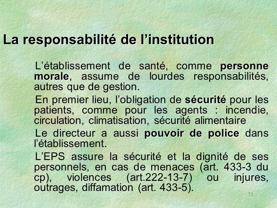 La responsabilité de l'institution