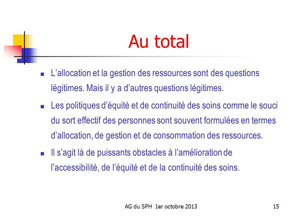 Au total L'allocation et la gestion des ressources sont des questions légitimes. Mais il y a d'autres questions légitimes.