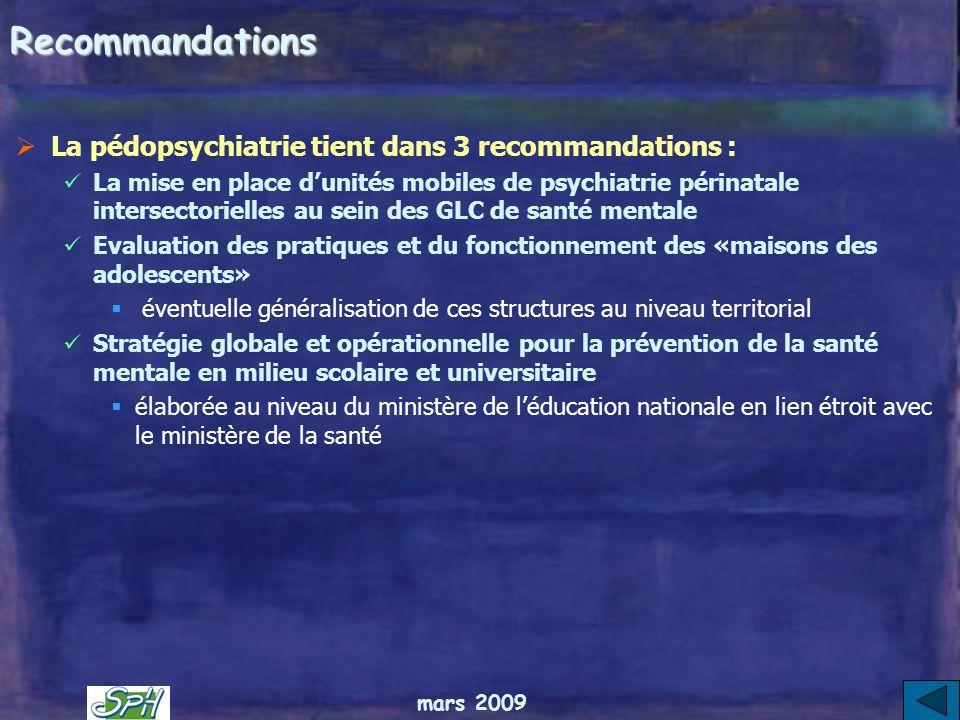 Recommandations La pédopsychiatrie tient dans 3 recommandations :