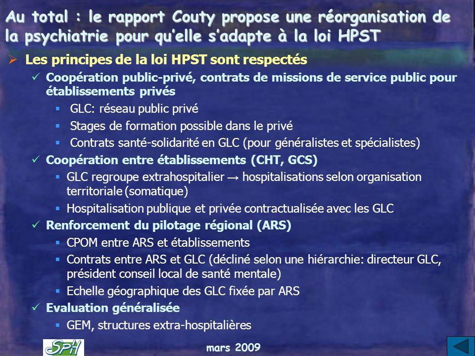 Au total : le rapport Couty propose une réorganisation de la psychiatrie pour qu'elle s'adapte à la loi HPST