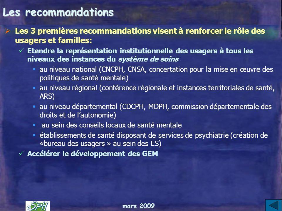 Les recommandationsLes 3 premières recommandations visent à renforcer le rôle des usagers et familles: