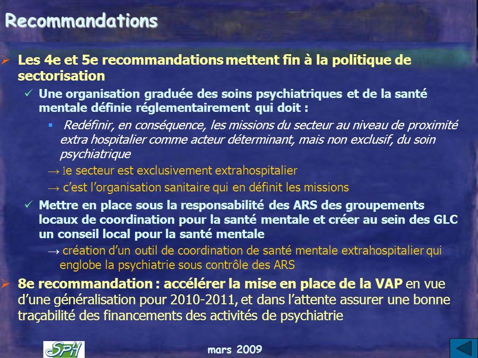 RecommandationsLes 4e et 5e recommandations mettent fin à la politique de sectorisation.