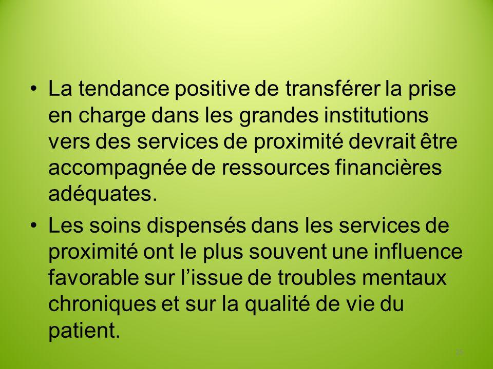 La tendance positive de transférer la prise en charge dans les grandes institutions vers des services de proximité devrait être accompagnée de ressources financières adéquates.
