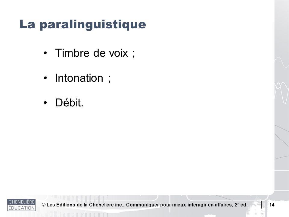 La paralinguistique • Timbre de voix ; • Intonation ; • Débit.