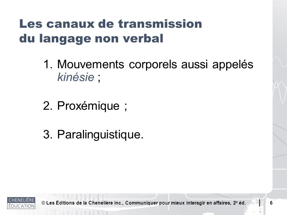 Les canaux de transmission du langage non verbal