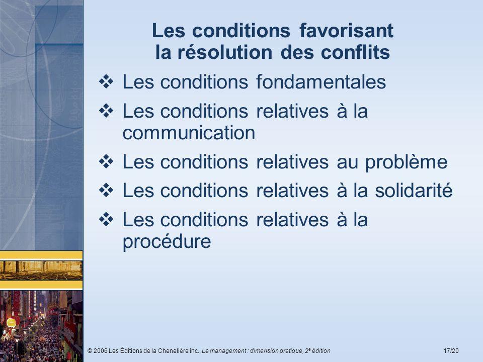 Les conditions favorisant la résolution des conflits
