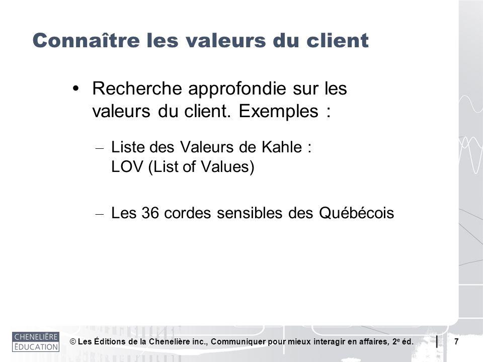 Connaître les valeurs du client