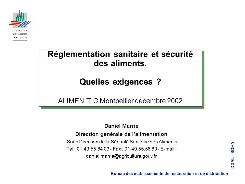 Réglementation sanitaire et sécurité des aliments.