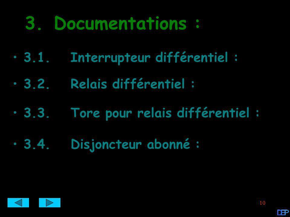 3. Documentations : 3.1. Interrupteur différentiel :
