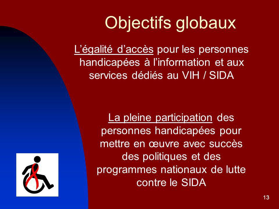 Objectifs globaux L'égalité d'accès pour les personnes handicapées à l'information et aux services dédiés au VIH / SIDA.