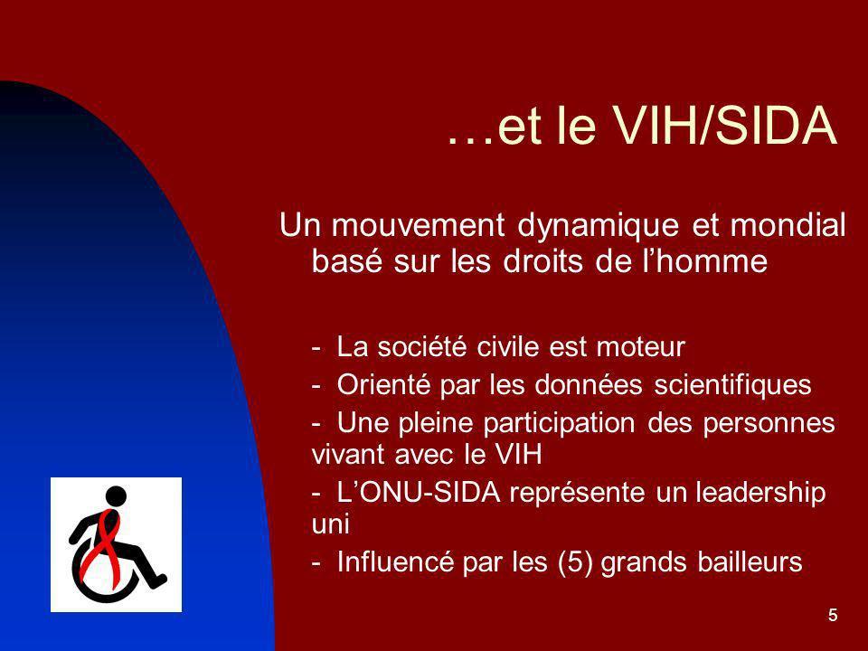 …et le VIH/SIDA Un mouvement dynamique et mondial basé sur les droits de l'homme. - La société civile est moteur.
