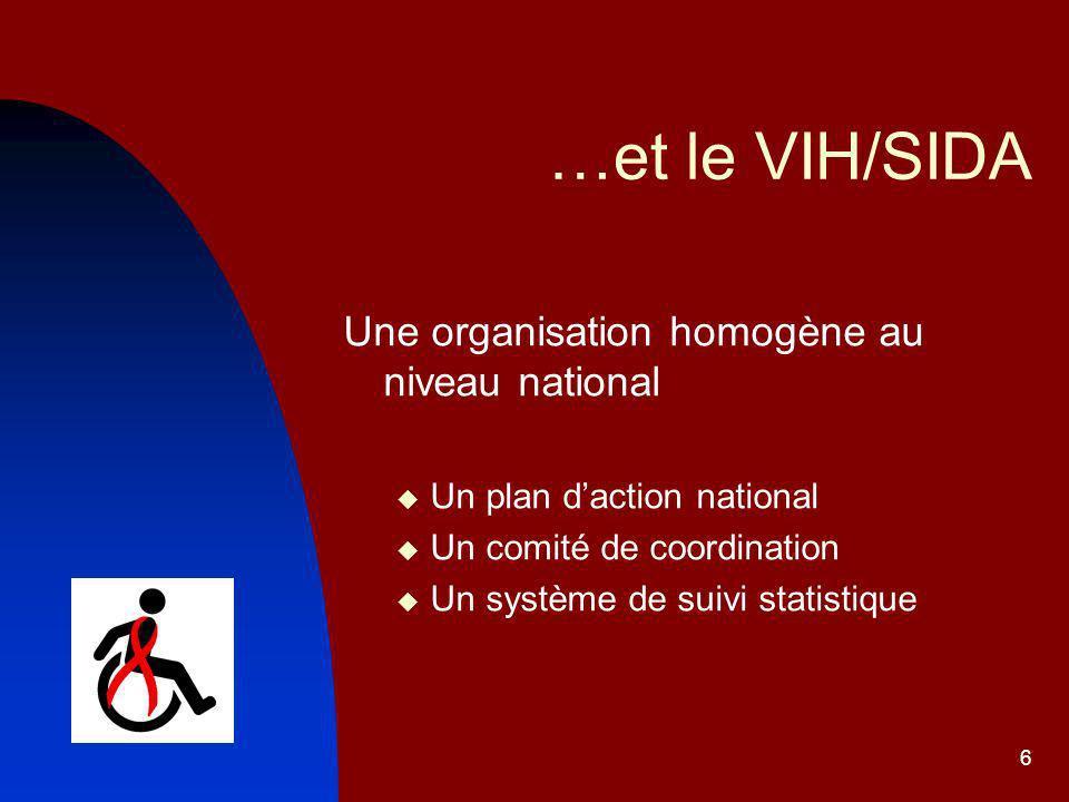…et le VIH/SIDA Une organisation homogène au niveau national