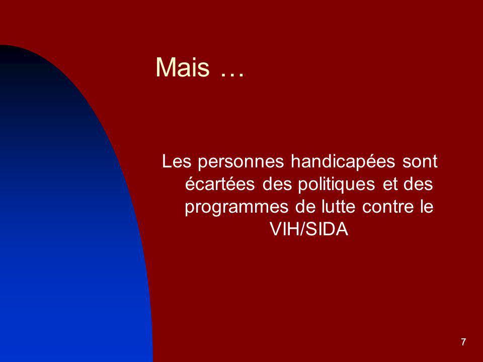 Mais … Les personnes handicapées sont écartées des politiques et des programmes de lutte contre le VIH/SIDA.