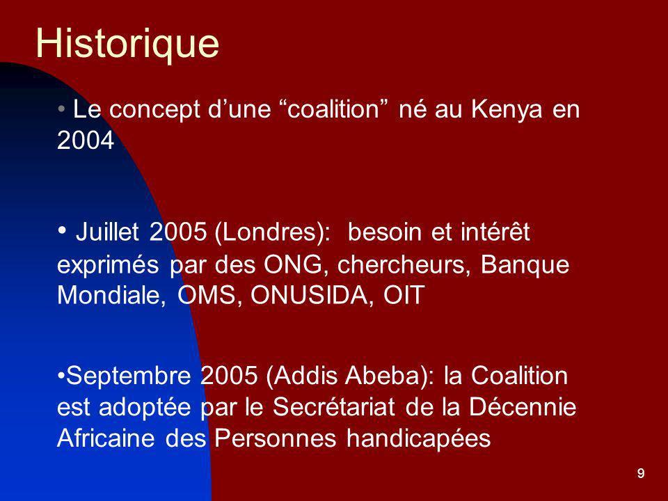 Historique Le concept d'une coalition né au Kenya en 2004.