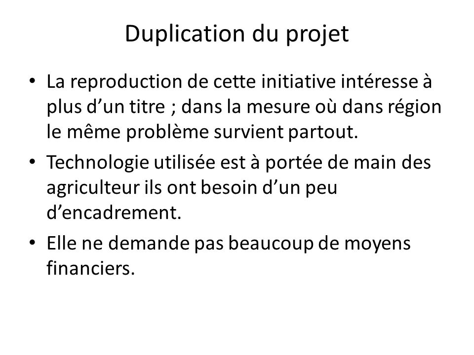Duplication du projet