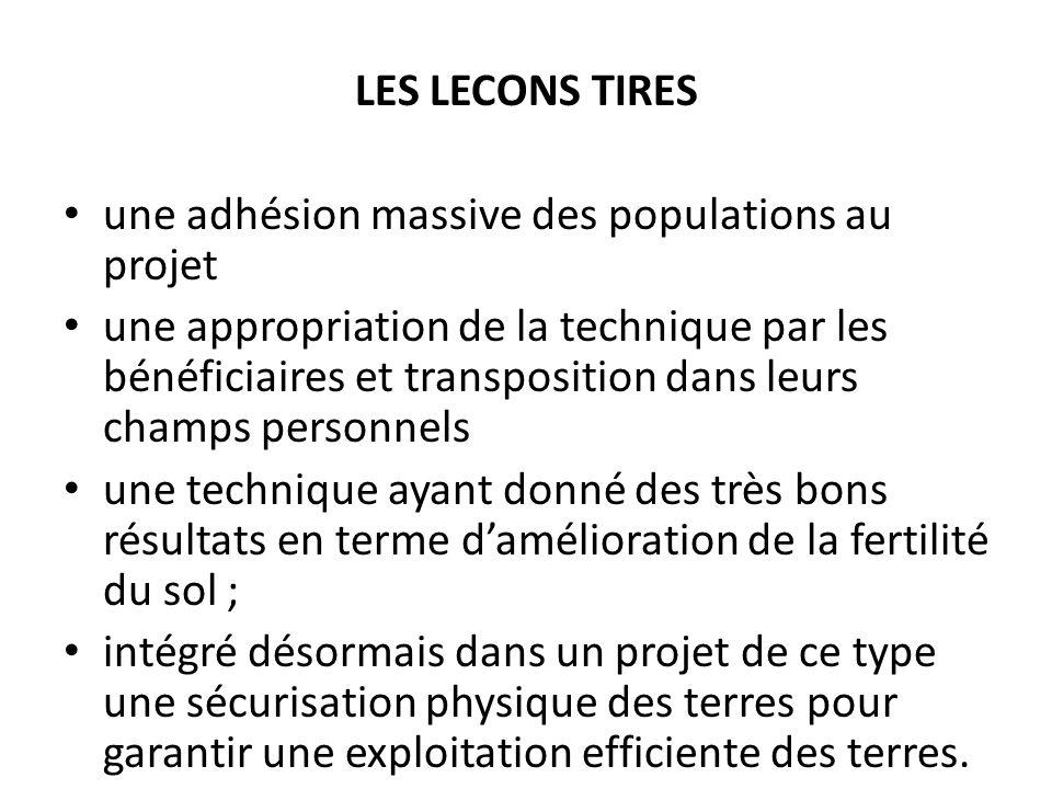 LES LECONS TIRES. une adhésion massive des populations au projet.