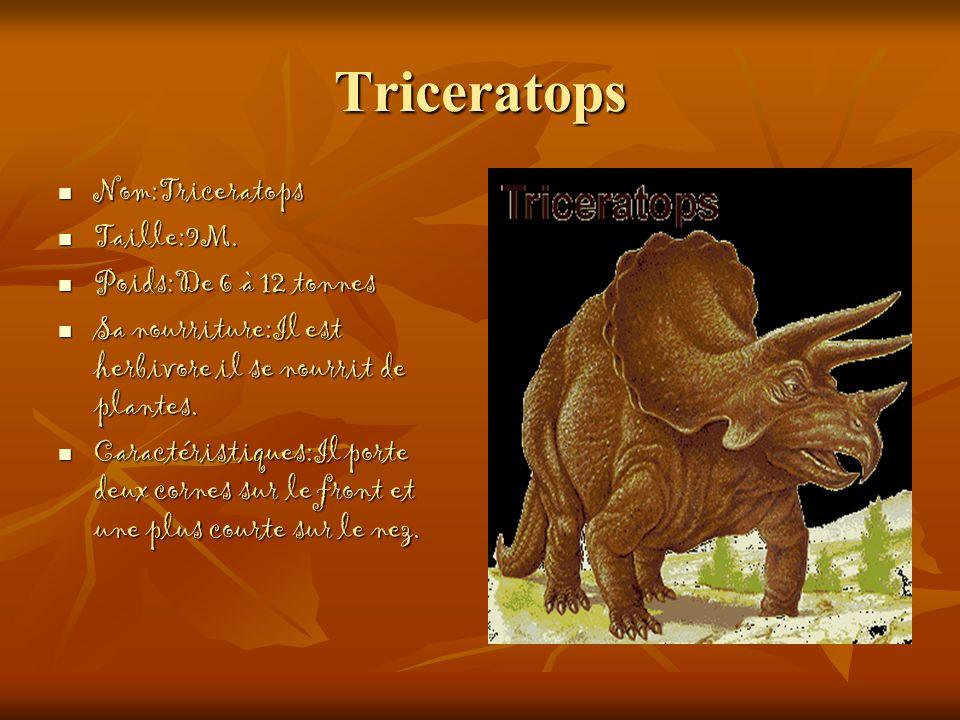 Triceratops Nom:Triceratops Taille:9M. Poids:De 6 à 12 tonnes