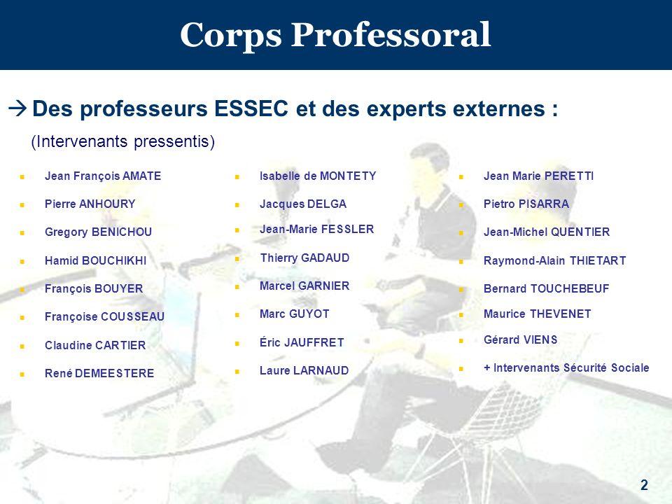 Corps Professoral Des professeurs ESSEC et des experts externes :