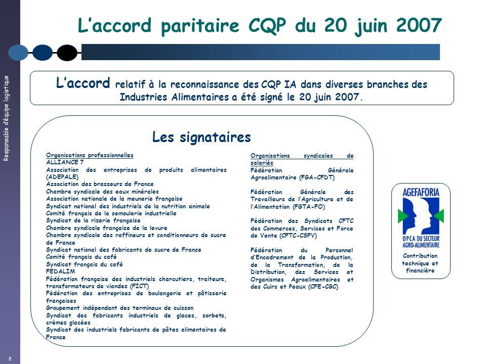 L'accord paritaire CQP du 20 juin 2007