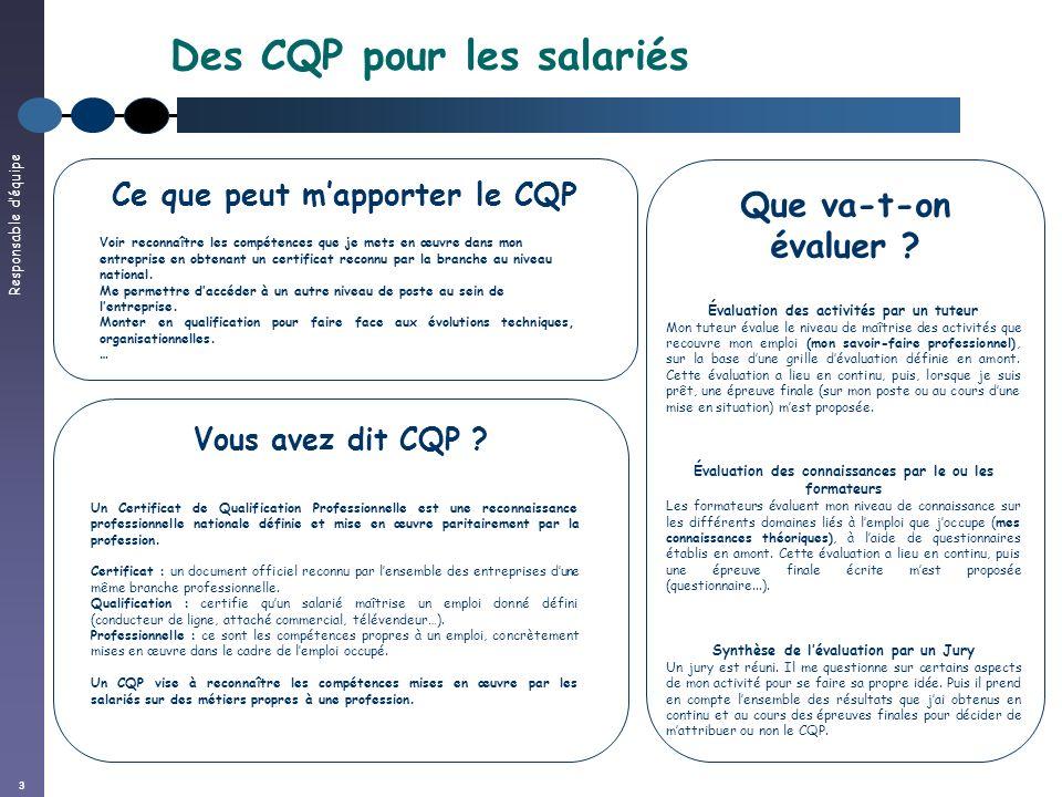 Des CQP pour les salariés