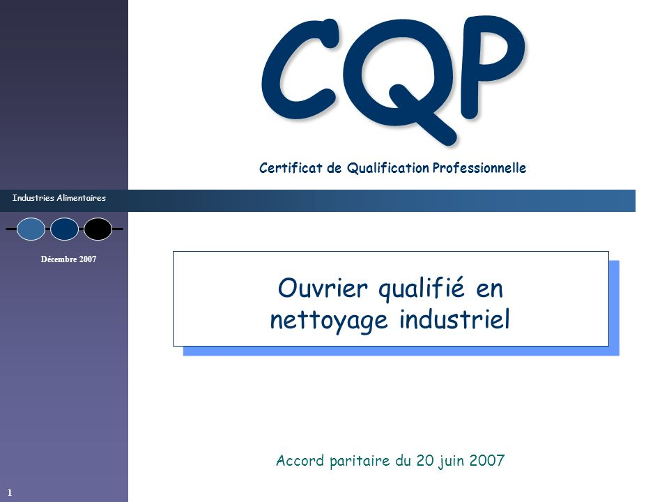 CQP Certificat de Qualification Professionnelle