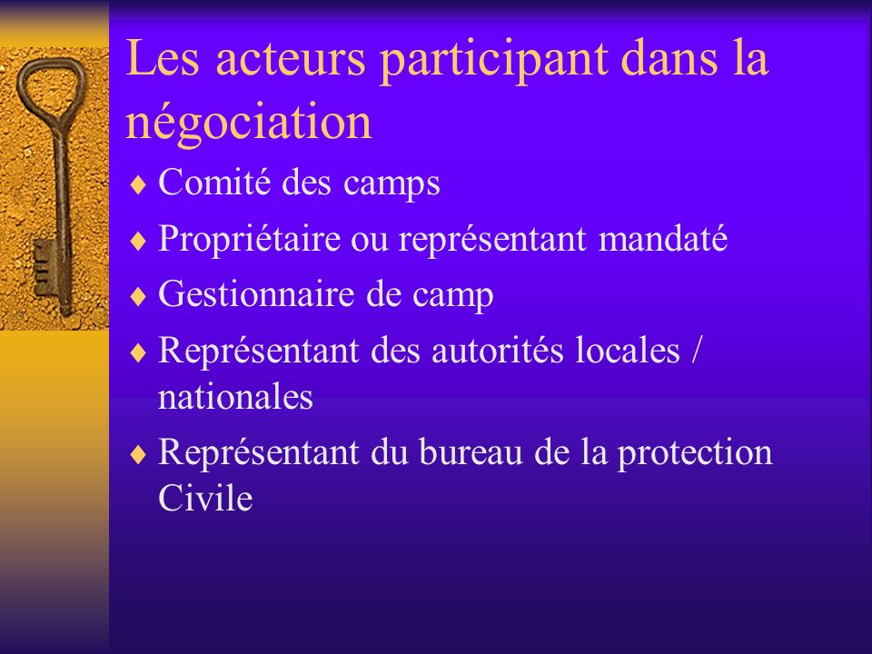Les acteurs participant dans la négociation