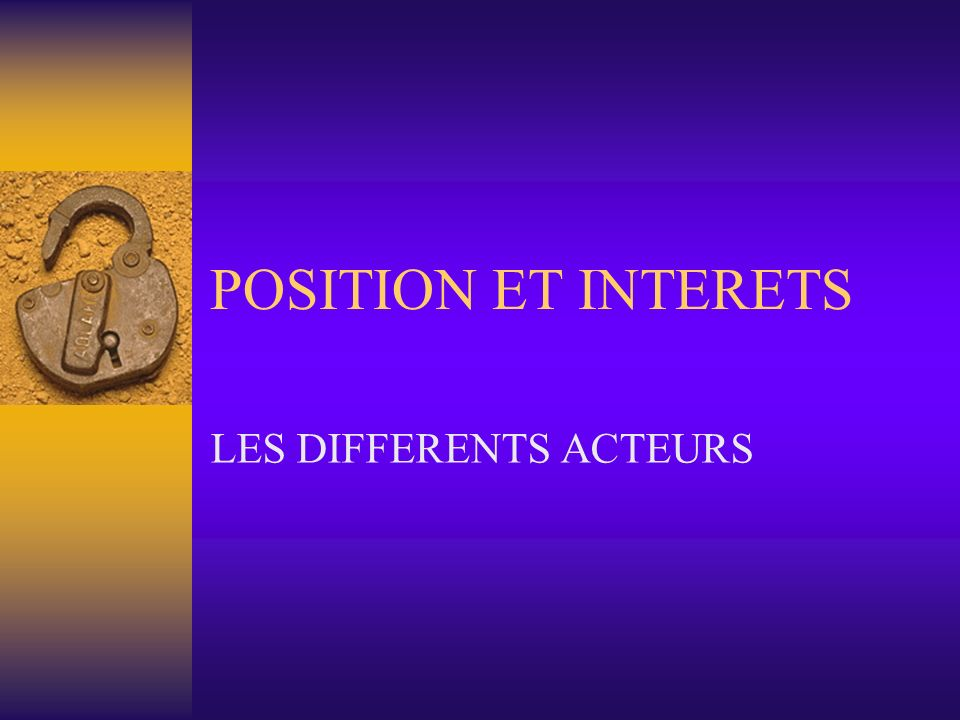 LES DIFFERENTS ACTEURS