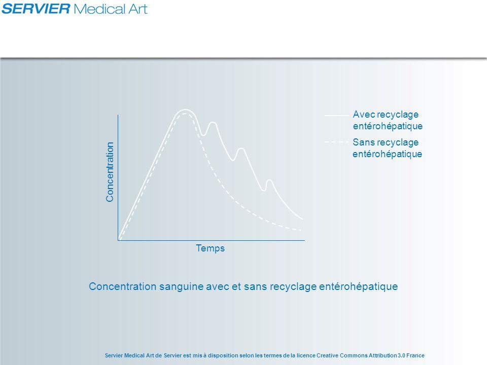 Concentration sanguine avec et sans recyclage entérohépatique