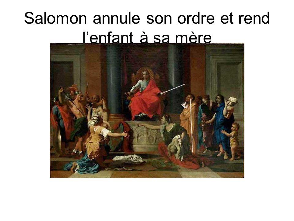 Salomon annule son ordre et rend l'enfant à sa mère