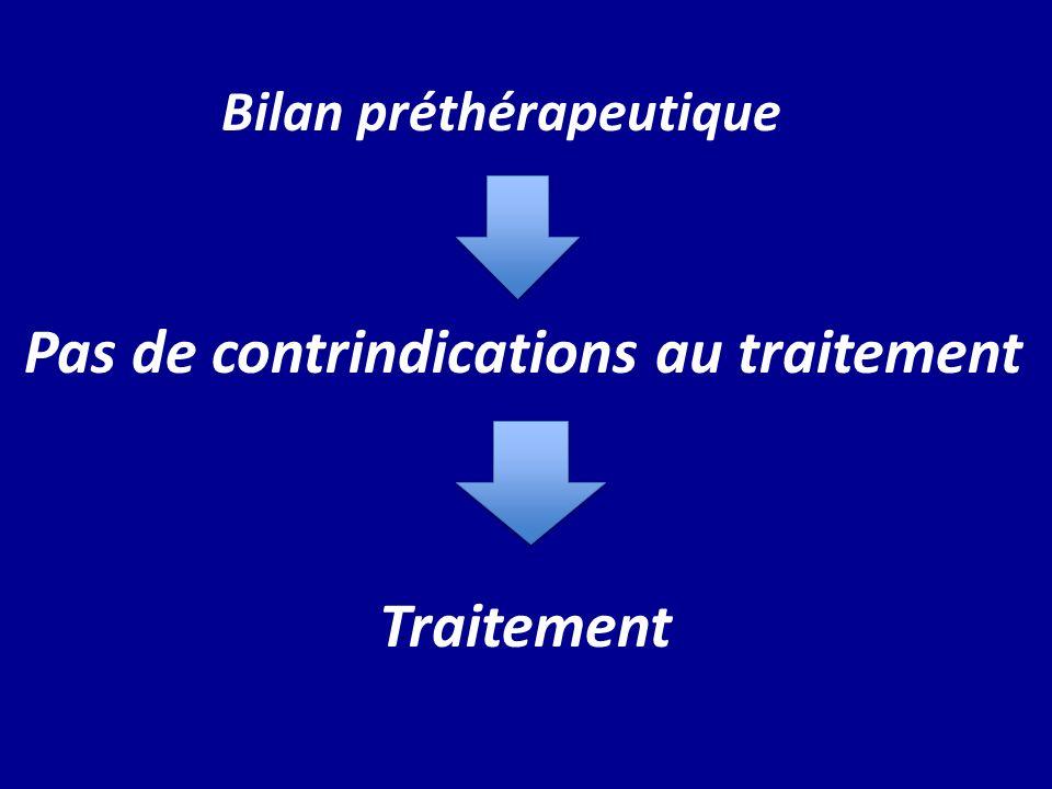 Bilan préthérapeutique Pas de contrindications au traitement Traitement