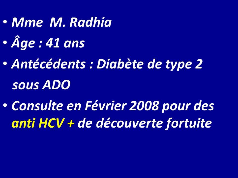Mme M.RadhiaÂge : 41 ans. Antécédents : Diabète de type 2.