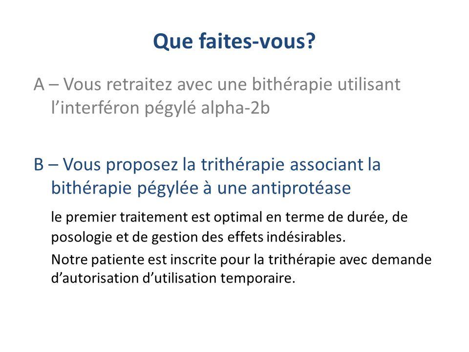 Que faites-vous A – Vous retraitez avec une bithérapie utilisant l'interféron pégylé alpha-2b.