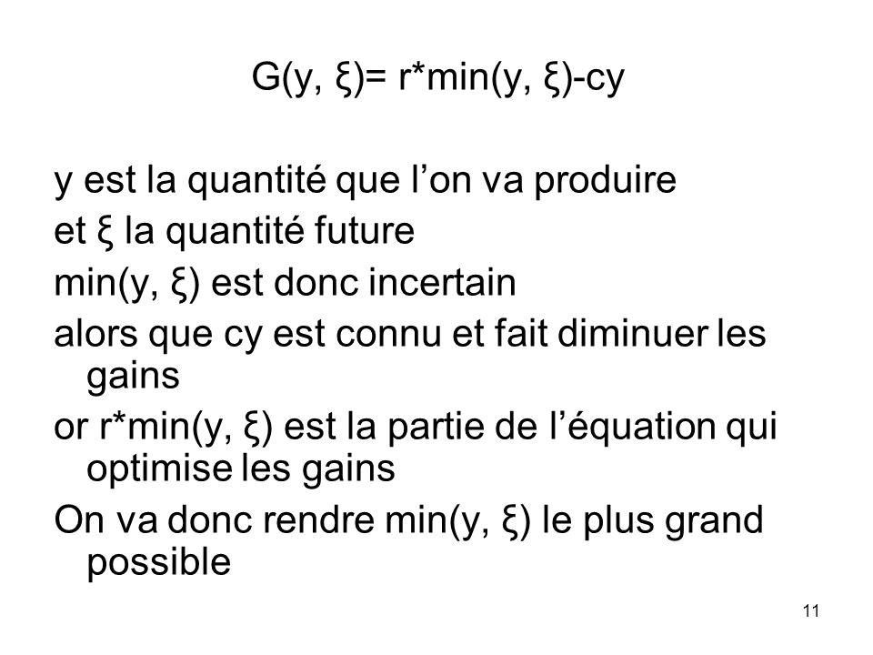 G(y, ξ)= r*min(y, ξ)-cy y est la quantité que l'on va produire. et ξ la quantité future. min(y, ξ) est donc incertain.