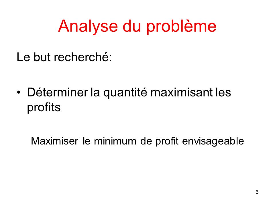 Maximiser le minimum de profit envisageable