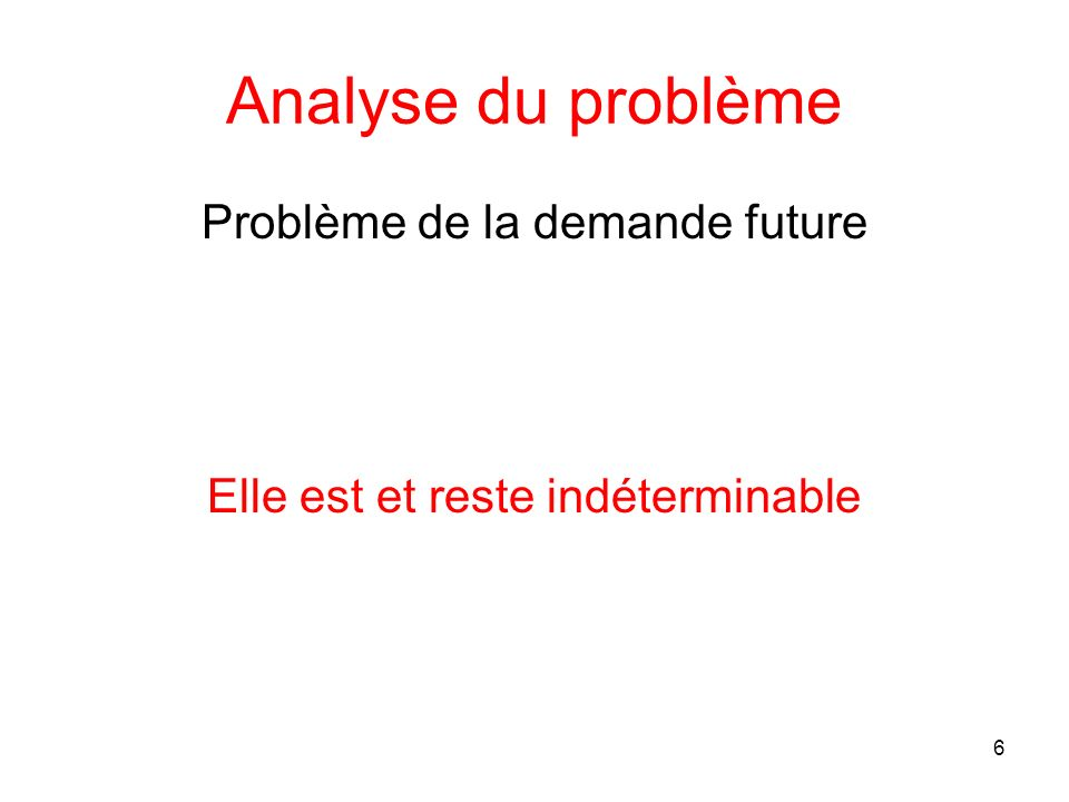 Analyse du problème Problème de la demande future