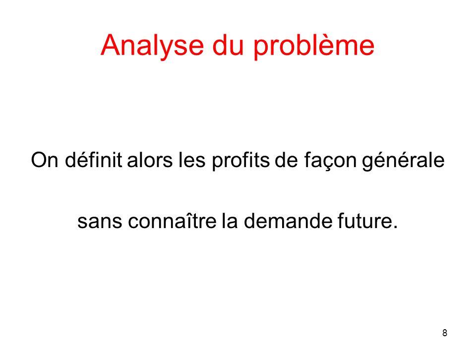 Analyse du problème On définit alors les profits de façon générale