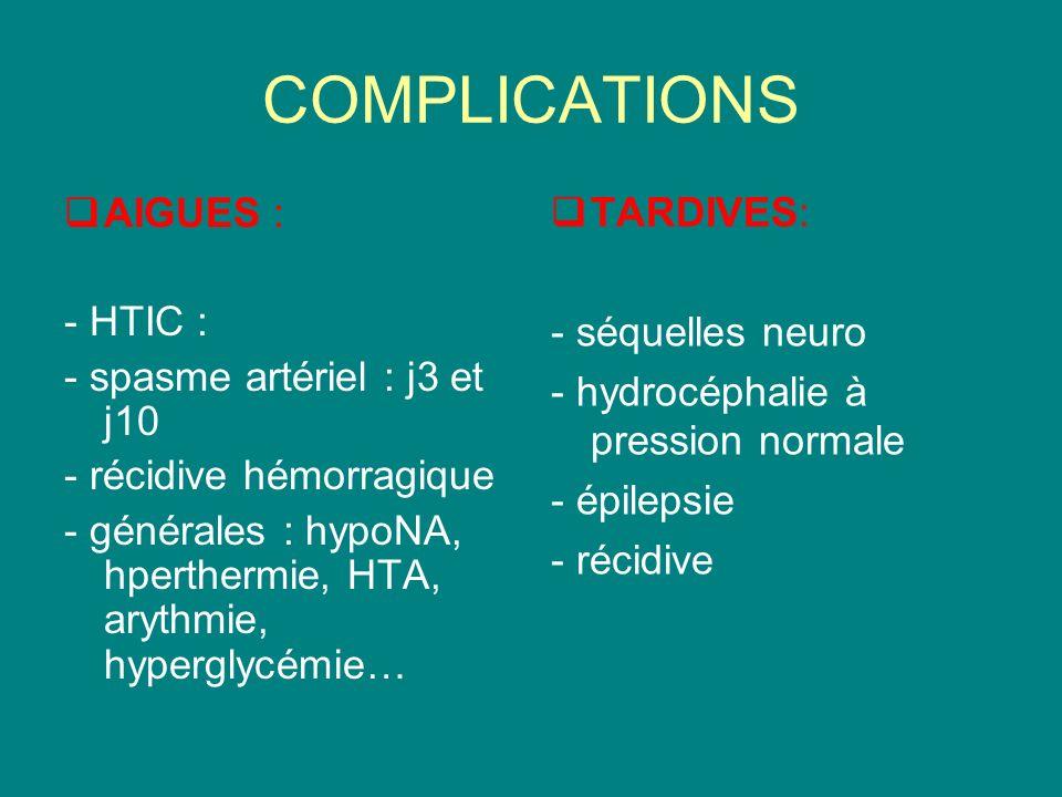 COMPLICATIONS AIGUES : - HTIC : - spasme artériel : j3 et j10