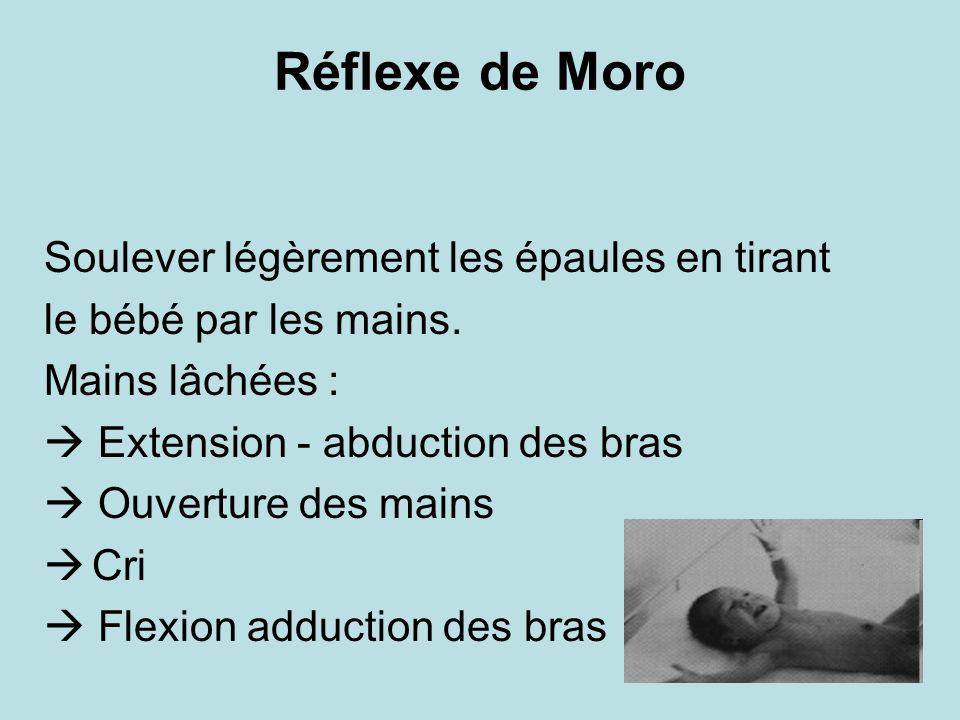 Réflexe de Moro Soulever légèrement les épaules en tirant