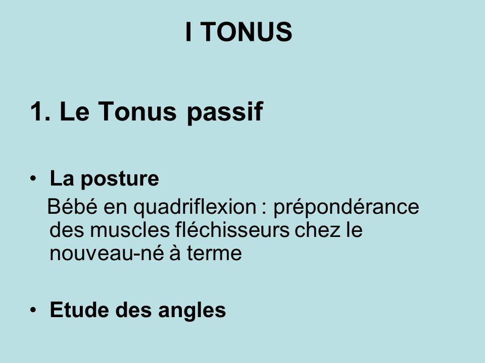 I TONUS 1. Le Tonus passif La posture