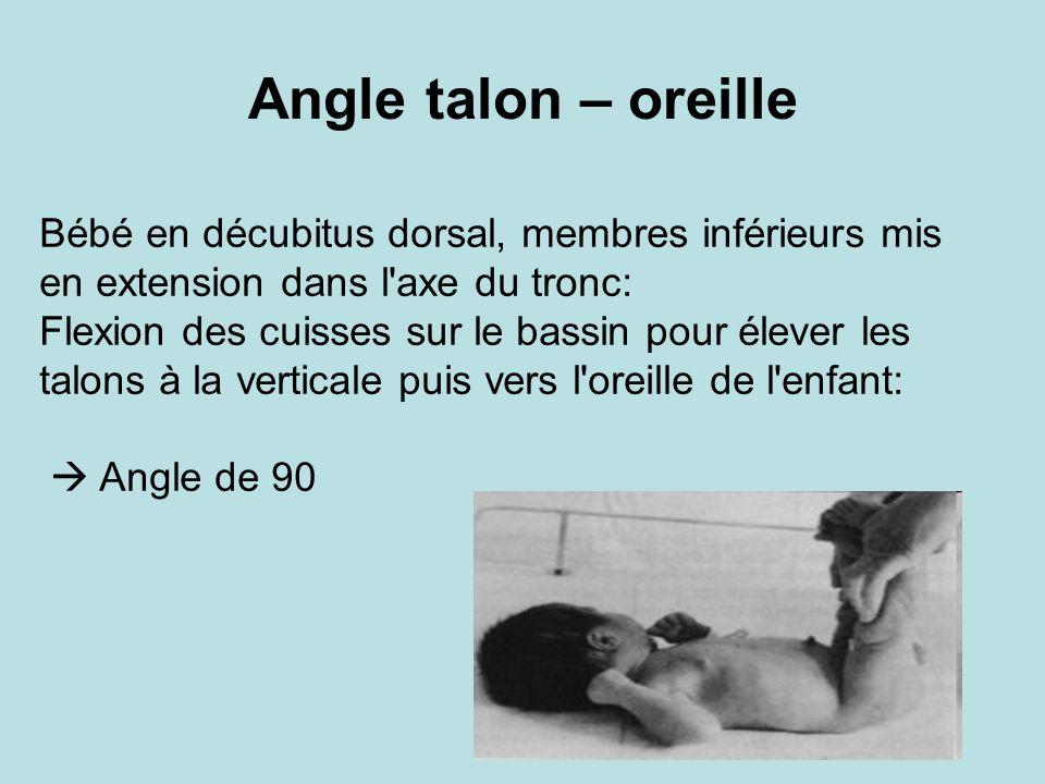Angle talon – oreille Bébé en décubitus dorsal, membres inférieurs mis en extension dans l axe du tronc: