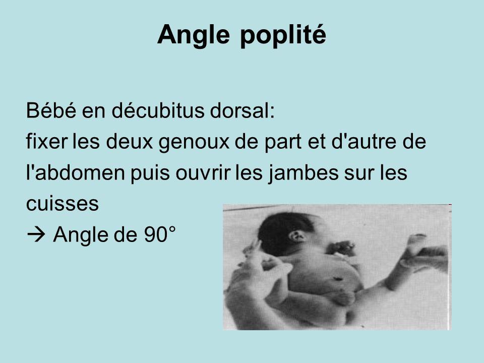 Angle poplité Bébé en décubitus dorsal: