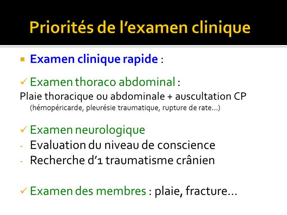 Priorités de l'examen clinique
