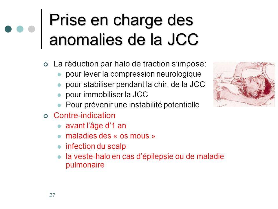Prise en charge des anomalies de la JCC