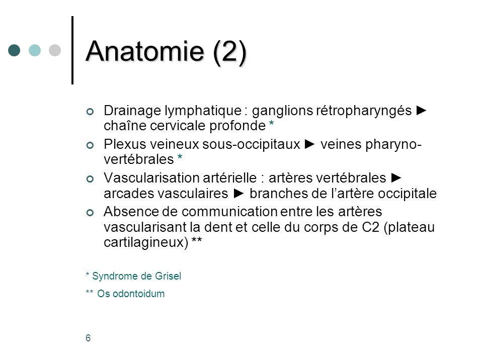 Anatomie (2) Drainage lymphatique : ganglions rétropharyngés ► chaîne cervicale profonde *