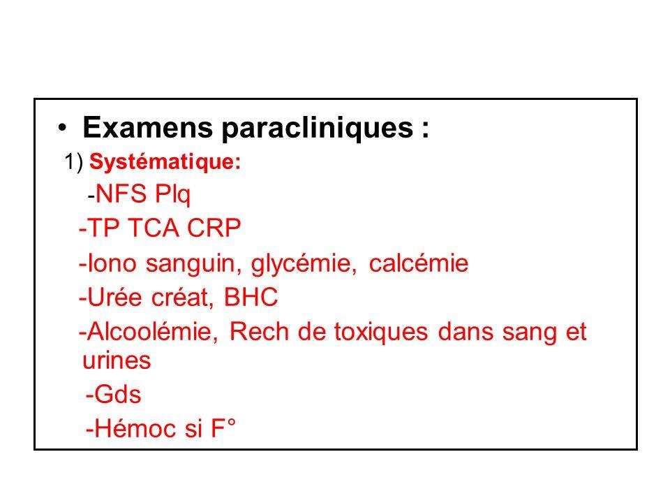 Examens paracliniques :