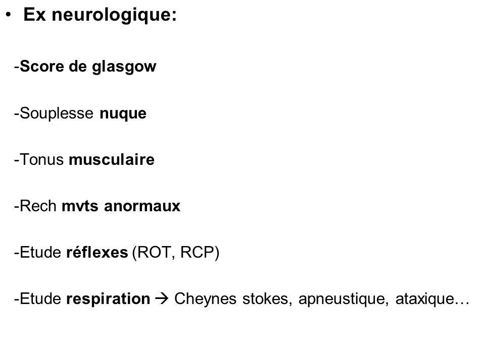 Ex neurologique: -Score de glasgow -Souplesse nuque -Tonus musculaire