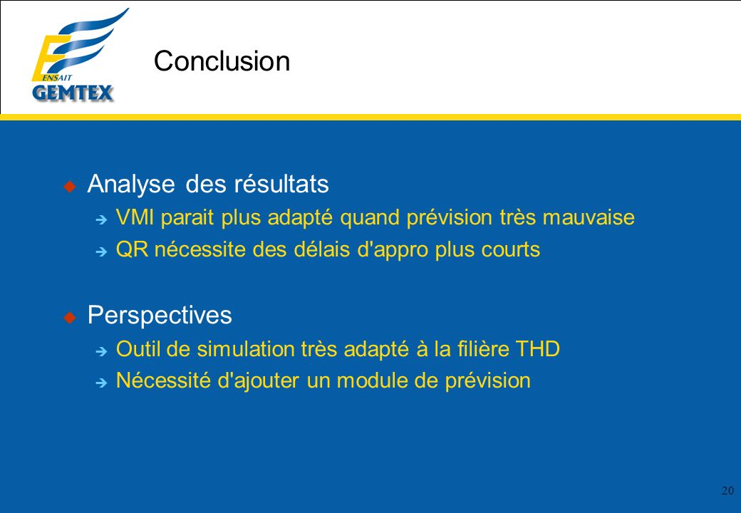 Conclusion Analyse des résultats Perspectives